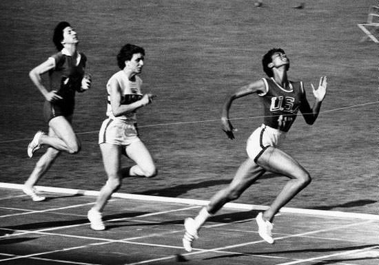 Wilma Rudolph winning the women's 100 meters