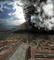 A artistic view of the explosion of Mount Vesuvius