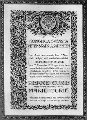 Physics Nobel Prize Certificate 1903