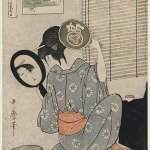 Takashima Ohisa Using Two Mirrors to Observe Her Coiffure Night of the Asakusa Marketing Festival by Kitagawa Utamaro