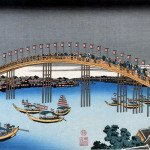 Unusual Views of Celebrated Bridges in the Provinces-Sesshuu Tenmabashi by Katsushika Hokusai