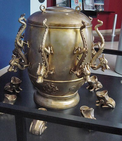 Replica of seismoscope created by Zhang Heng