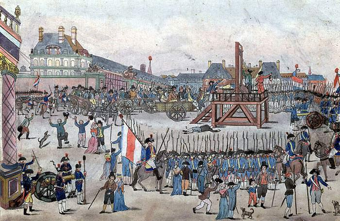 Depiction of the execution of Robespierre and his supporters