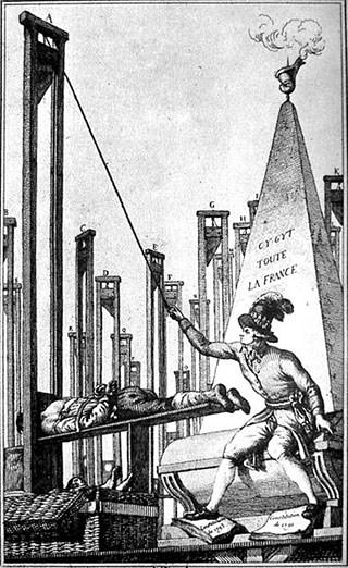 Satirical engraving of Robespierre