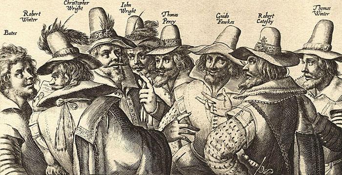 Engraving of eight of the thirteen conspirators of Gunpowder Plot
