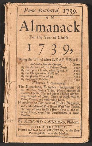 Poor Richard's Almanac 1739 Edition