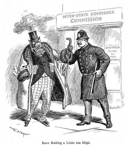Theodore Roosevelt railroad regulation cartoon