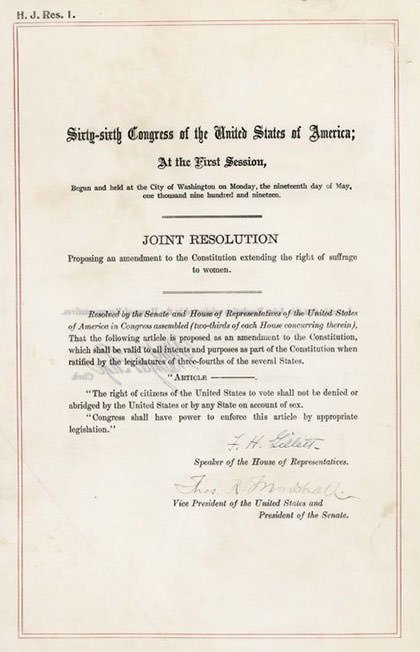 US Constitution Nineteenth Amendment