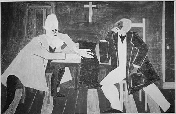 Painting depicting Douglass arguing against John Brown's rebellious plan