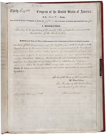 US Constitution Thirteenth Amendment