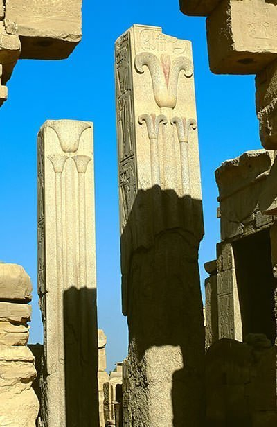 Heraldic Pillars at the temple of Amun at Karnak