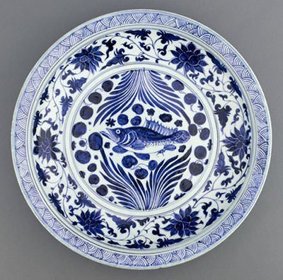 A Yuan dynasty blue-and-white porcelain dish