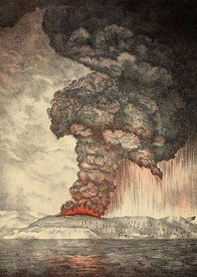 Depiction of 1883 eruption of Krakatoa