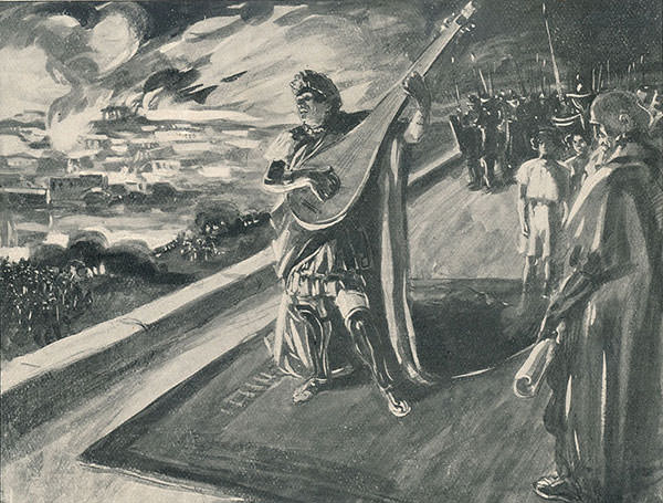 Nero playing the Lyre during the Great Fire of Rome