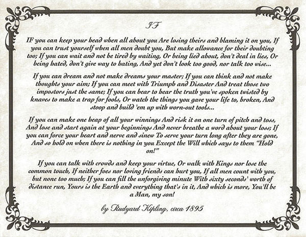 graphic relating to If by Rudyard Kipling Printable called Rudyard Kipling 10 Info Upon The Famed English Writer