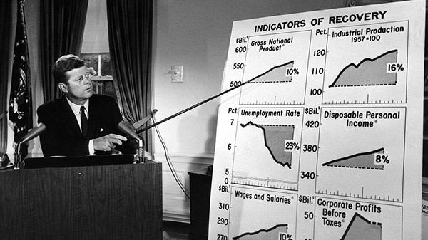 John F. Kennedy addresses the nation about the economy in 1962