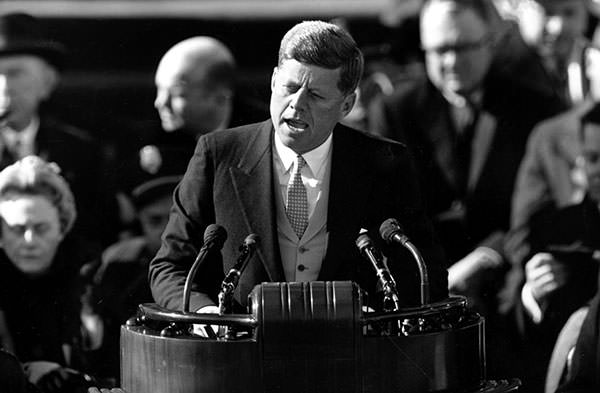 President John F. Kennedy speaking during his Inaugural Address