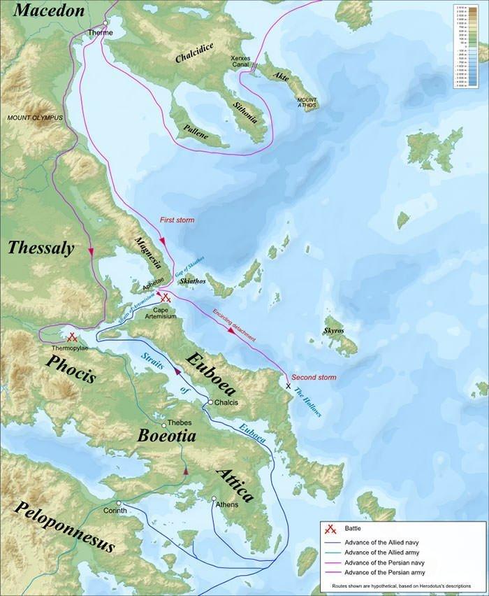 Battles of Thermopylae & Artemisium Map