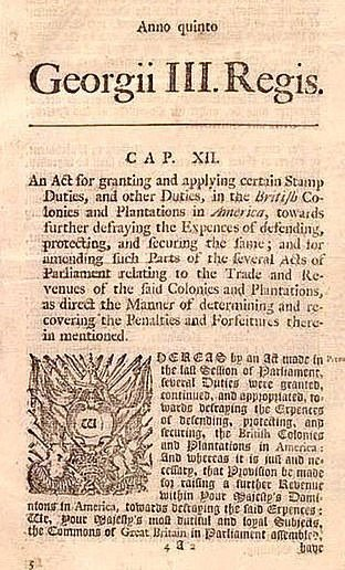 Notice of Stamp Act of 1765