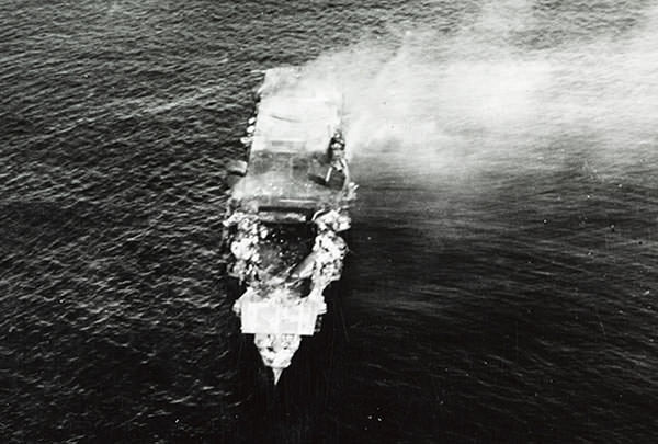Photo of IJN Hiryu during the Battle of Midway
