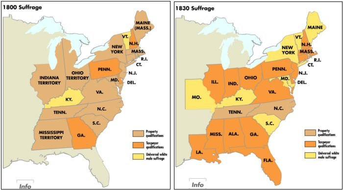 U.S. Voting Rights expansion map (1800 - 1830)