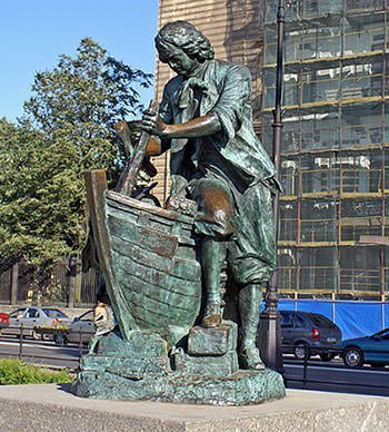 Statue of Peter I working incognito at a Dutch wharf