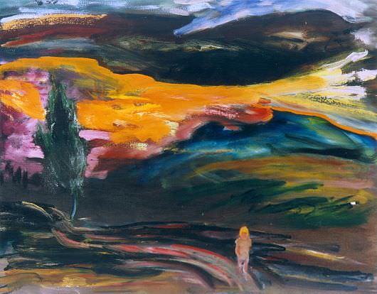 Lone figure and tree in stormy sunset - E. E. Cummings