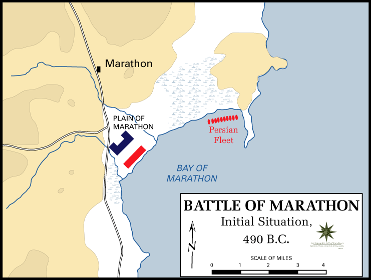 Battle of Marathon initial positions map
