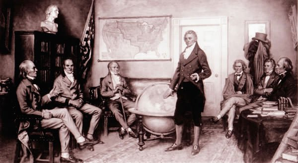 Painting of The Birth of the Monroe Doctrine