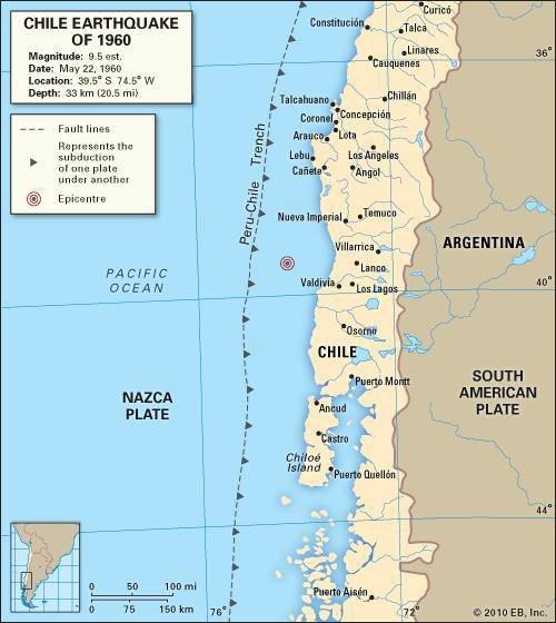 Map of the 1960 Valdivia Earthquake