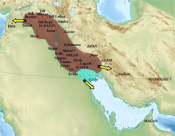 Akkad Empire Map