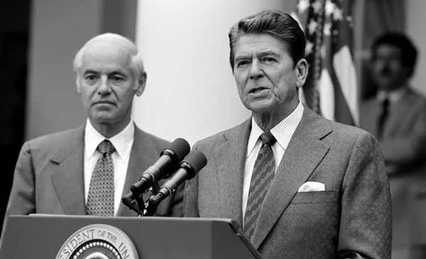 President Reagan making a statement against PATCO strike