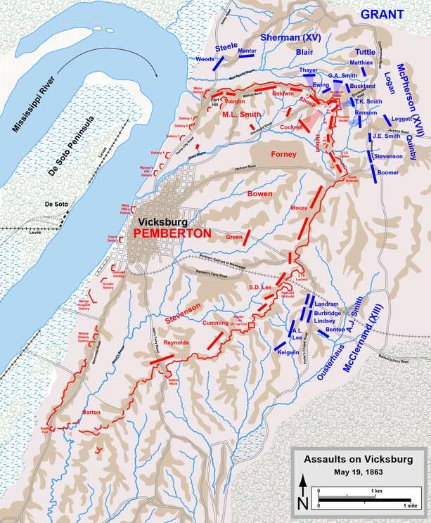 Battle of Vicksburg Map, May 19, 1863