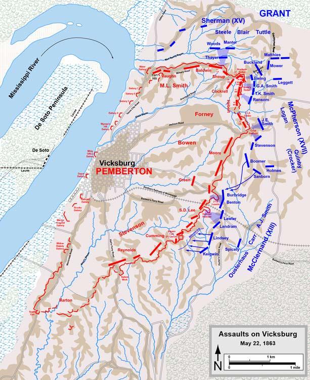 Battle of Vicksburg Map, May 22, 1863