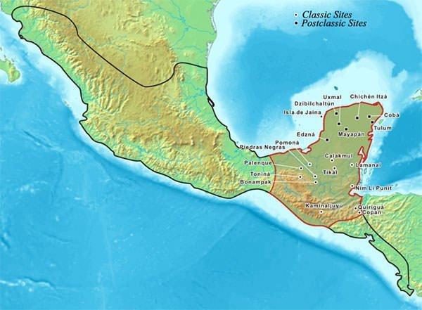 Map of Maya civilization