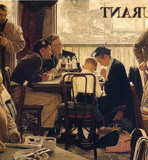 Saying Grace (1951) - Norman Rockwell