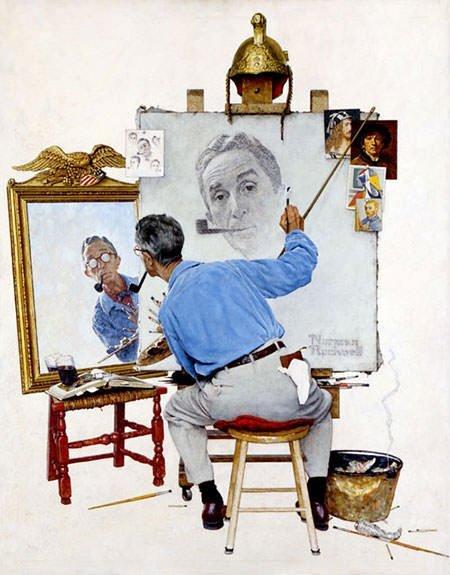 Triple Self-Portrait (1960) - Norman Rockwell