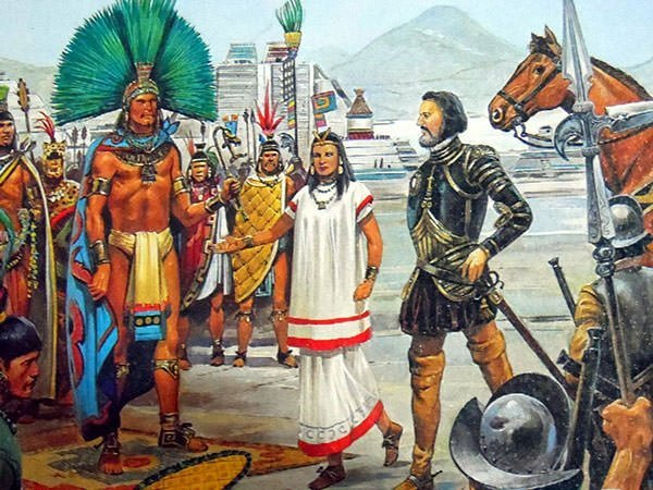 Hernan Cortes and Moctezuma II