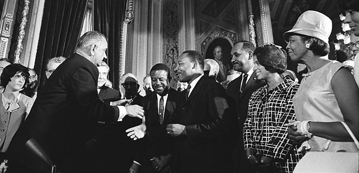 President Johnson at the signing of the 1965 Voting Rights Act
