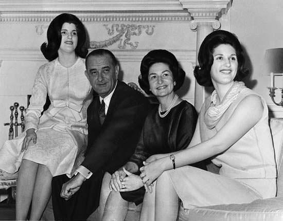 Lyndon B Johnson with his family