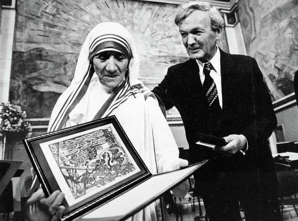 Mother Teresa receiving the Nobel Peace Prize