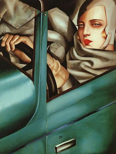 Self-portrait in a Green Bugatti (1929)