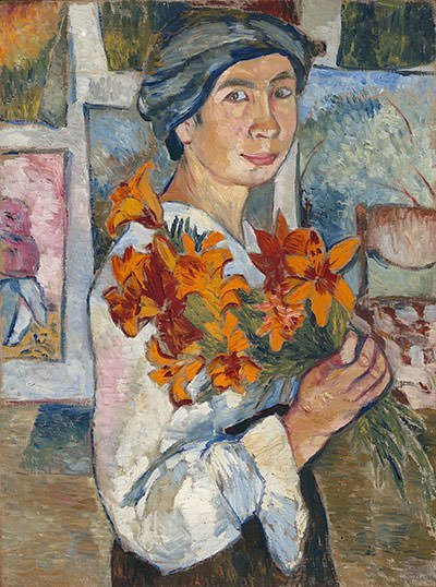 Self-portrait with yellow lilies (1907)