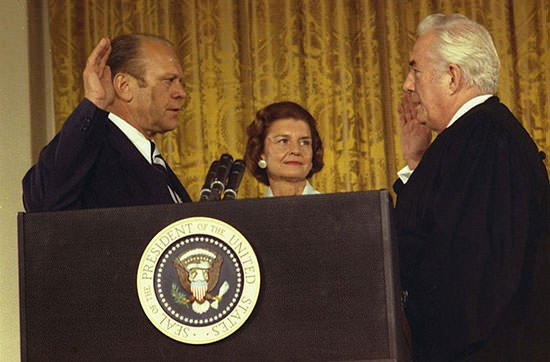 Gerald Ford being sworn in as President