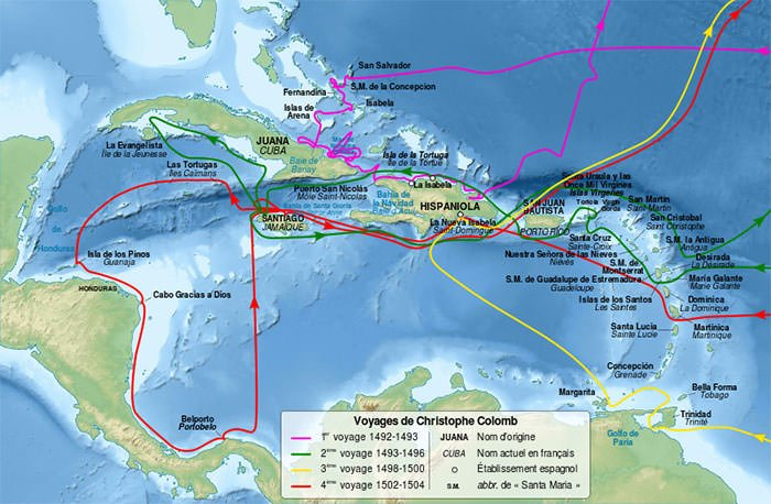 Columbus voyages map