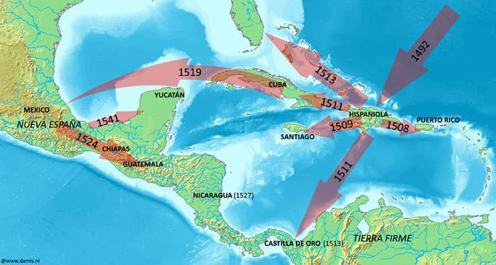 Spanish conquest routes in the New World