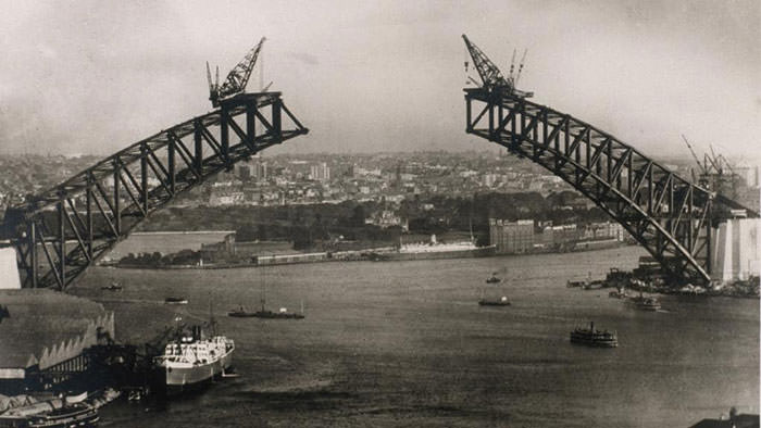 The Sydney Harbour Bridge under construction