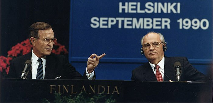 President George H. W. Bush with Mikhail Gorbachev