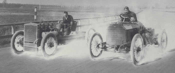 Henry Ford (left) driving the 999