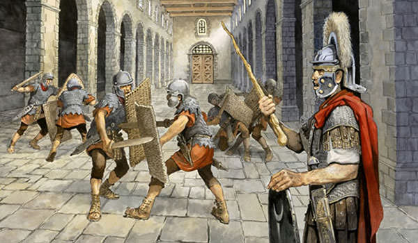 Roman soldiers training